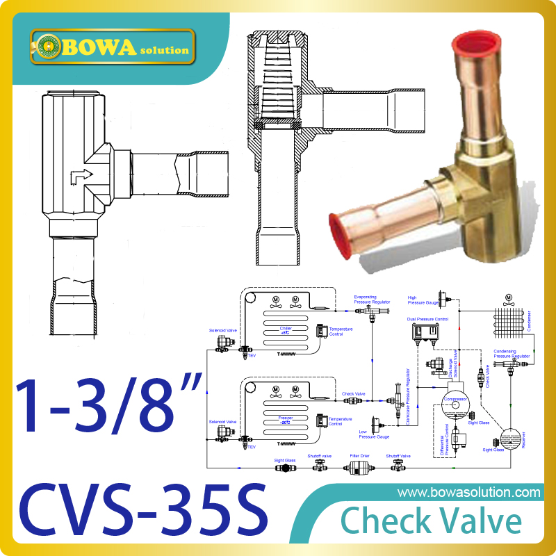 1-3/8 right Angle check valve for heat pump VRV air conditioner 3 8 check valve with solder connection for bus air conditioner and refrigeration truck replace sporlan check valve