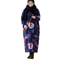 Winter Dress Plus Size Long Sleeve Vintage Floral Print Loose Linen Cotton Dress Casual Quilted Robe