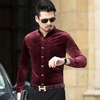 KUYOMENS Men S Dress Shirt Long Sleeve Male Stand Collar Casual Velvet Fashion Formal Men Shirts