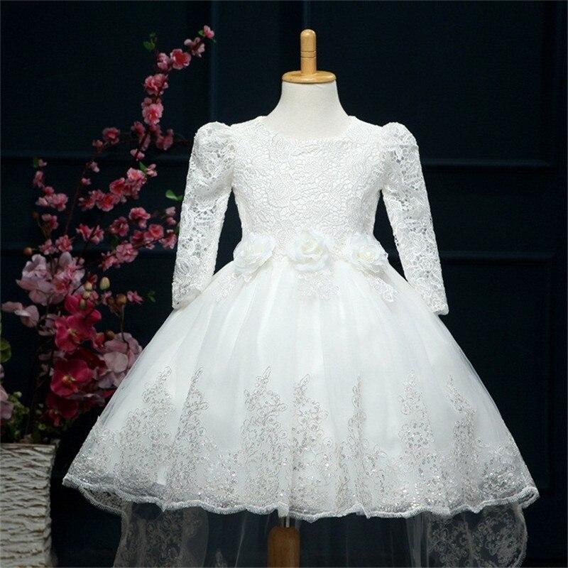 9821e25d7 High Quality Solid Flower Little Girl Wedding Dresses White Elegant ...