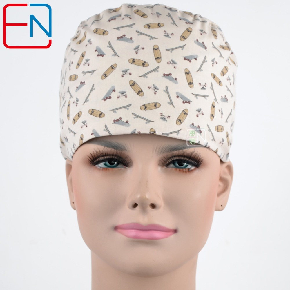 Hennar Medical Caps 2018 Hot Sales Three Sizes For Choices With Sweatband Surgical Cap Skateboards Printed Scrub Hat For Doctors