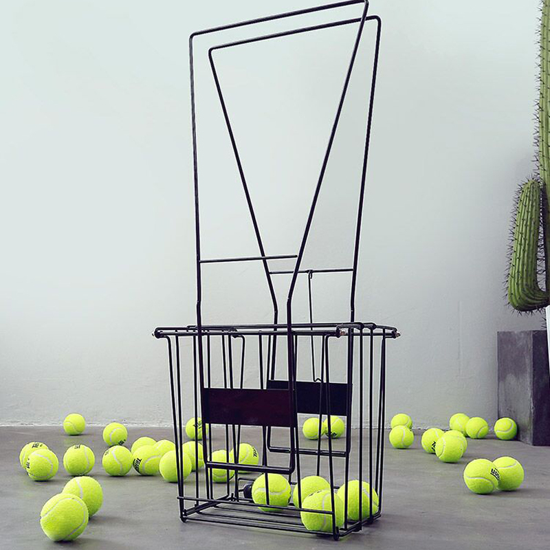 Professional 70 Pc Tennis Ball Pick Up Hopper Portable Tennis Ball Stand With Basket Softball Baseball Metal Ball Box B81605