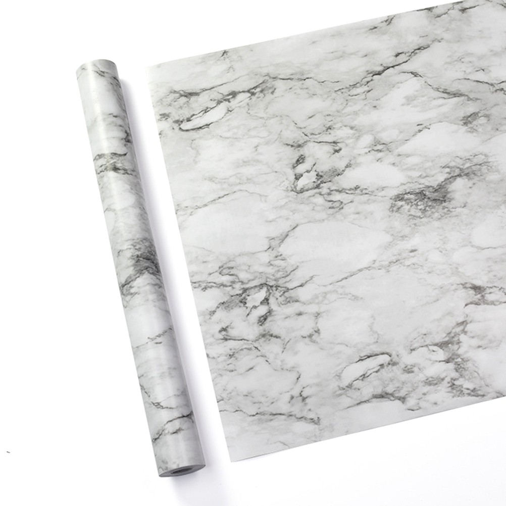 Marble Effect Self Adhesive Vinyl Film Paper Table Door Sticker Sticky Plastic For Furniture Kitchen Living Room 45CM X 10M