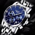 2016 mens relógios top marca de luxo GUANQIN Três trabalhos de marcação de aço inoxidável Luminosa À Prova D' Água relógios de quartzo-relógio dos homens homens