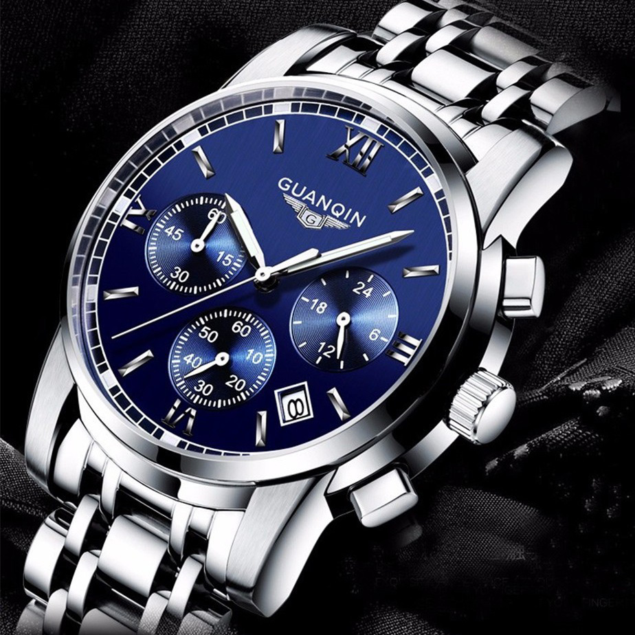2016 mens watches top brand luxury GUANQIN Three dial work stainless steel Waterproof Luminous men's watches quartz-watch men angela bos sub dial work waterproof luminous mens watches top brand luxury 2016 men s watches quartz watch wrist watches for men