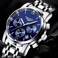 2016 mens watches top brand luxury GUANQIN Three dial work stainless steel Waterproof Luminous men's watches quartz-watch men