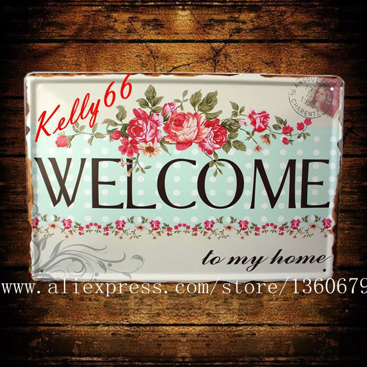 [ Kelly66 ] 20*30 CM Size WELCOME to my home Vintage Metal Plaque House Wall Painting Cr ...