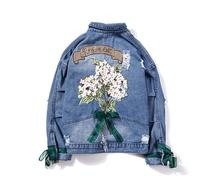 women's denim jacket new autumn fashion thin embroidered denim jacket female graphic embroidered pocket front denim jacket