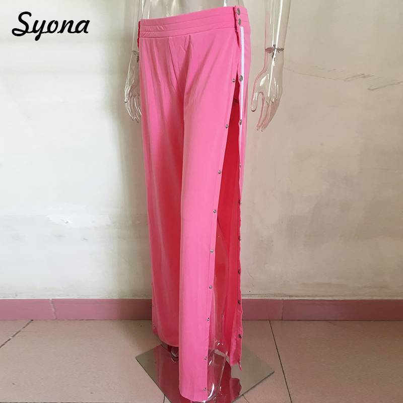 Pants & Capris Women's Clothing New Hot Women Fashion High Waist Side Slit Button Up Wide Leg Long Pants Casual Loose Side Striped Straight Trousers