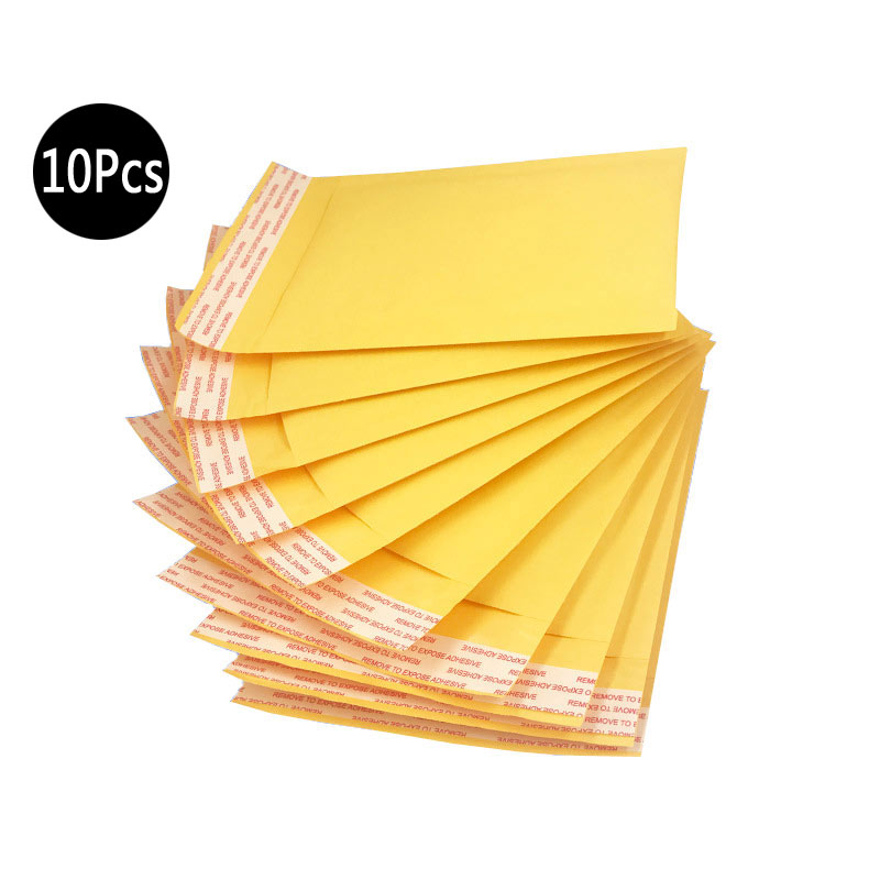 10Pcs Mailing Bags Window Envelopes Bag Moistureproof High Quality Kraft Paper Seal Yellow Stationary Paper Envelopes