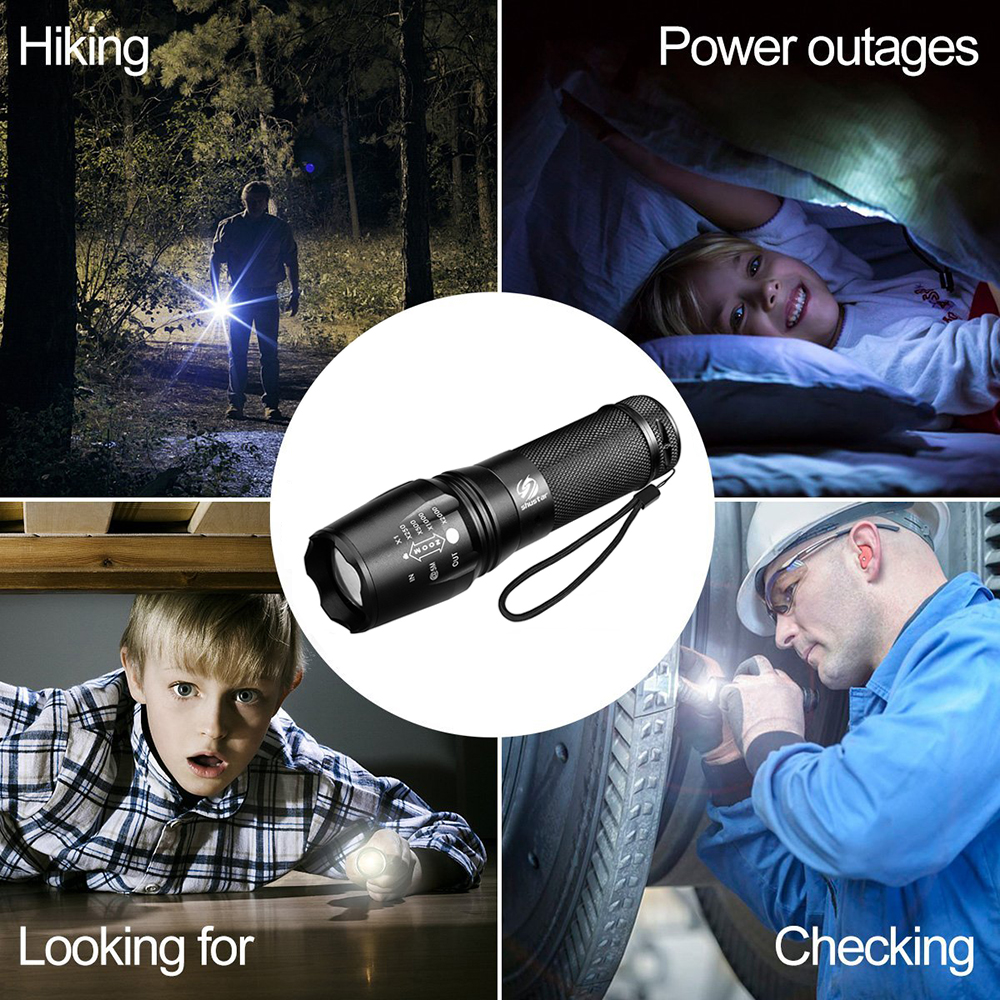 Lampe de poche N7 600 LM Tactical 90 ° MINI étanche Ip65 DEL 4 modes BES NOIR