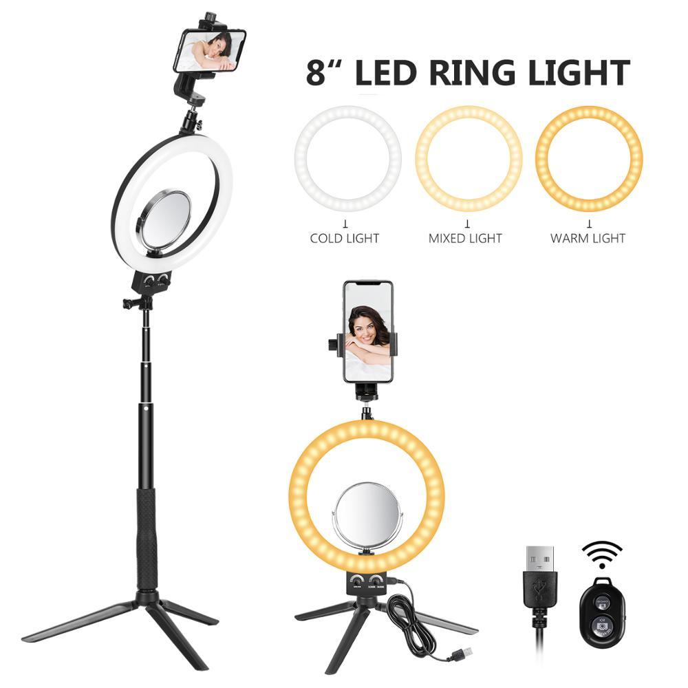 Neewer 8 pulgadas led ring luz con ajustable trípode selfie Stick para YouTube