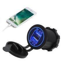 Прикуривателя автомобиля для укладки волос 12-24V светодиодный автомобильный двойной разъем USB 5V 2.1A устройство для автомобиля с двумя портами USB для мотоцикла Зарядное устройство автомобиля Зарядное устройство Мощность адаптер