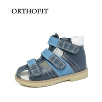 Russian Market Hot Selling Black And Blue Boys Orthopedic Shoes Closed Toe Genuine Leather Sandals For