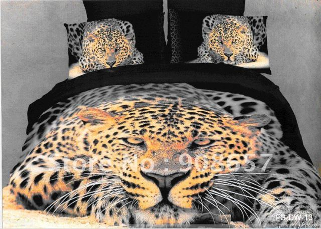 home fashions Cotton black leopard animal pattern Printed comforter covers Queen bed in a bag sets 4 pcs with sheets bed linen