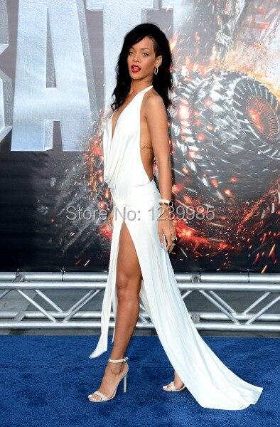 ECR005 Branco Rihanna Vestidos Halter Abrir Traseira Frente Slit Profundo Decote Em V Sexy Branco Vestidos de Celebridades Sereia Vestidos Longos de Festa