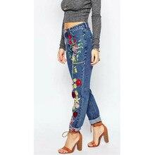 Новый женский Вышивка джинсы Мода boyfriend джинсы для женщин Свободные случайные джинсовые брюки