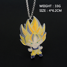 Anime Dragon Ball Z Son Goku Figure Charm Necklace Super Saiyan Metal Pendant Necklace Collectible Cool Novelty Jewelry