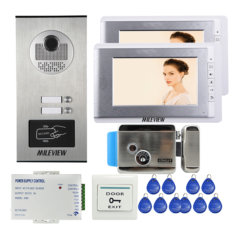 FREE SHIPPING Apartment 7 LCD Video Door Phone Intercom System 2 Monitors + RFID Access Outdoor Camera 2 Buttons Electric Lock 7 video door phone system unit 12 apartment intercom system 8gb sd card with rfid access 12 keys outdoor camera electric lock