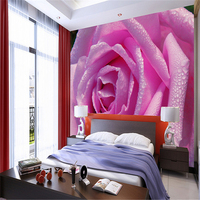 Beibehang Large Custom Wallpaper Wall Murals HD Blooming Water Drops Pink Rose Flower Bedside Background Wall