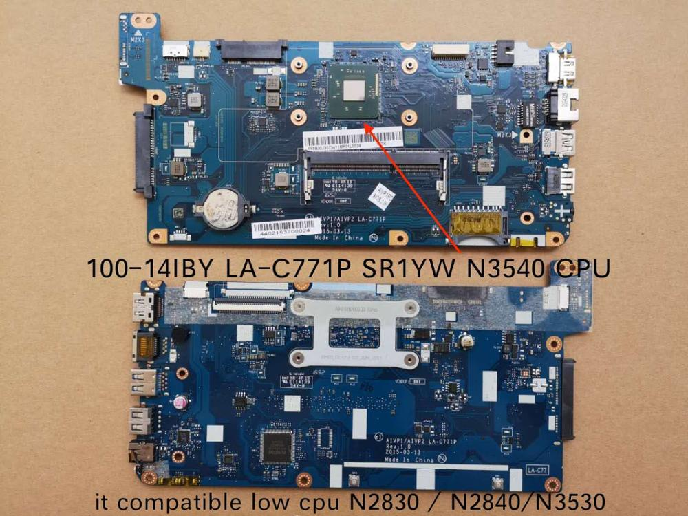 Free Shipping For Lenovo 100-14IBY 100 14IBY B40-10 LA-C771P Notebook Motherboard With SR1YW N3540 CPU