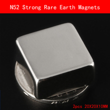 2PCS 20x20x10mm N52 Super Strong Rare Earth Magnet Permanent N52 Ndfeb Magnets 20*20*10MM
