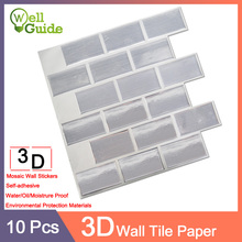 10pcs Wallpaper 3D Mosaic Marble Brick Self-Adhesive Wall Stickers Waterproof DIY Kitchen Bathroom Home Decal Sticker Vinyl