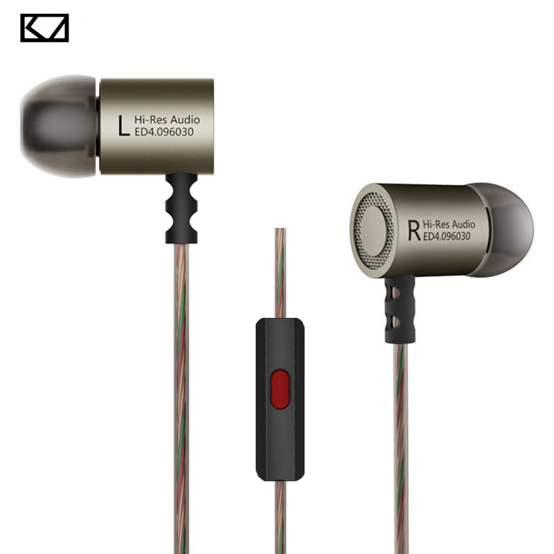 Original KZ ED4 In-Ear Earphone Noise Cancelling Earbuds with Mic Stereo Bass Sports HIFI Headset 9.6mm Dynamic Unit for xiaomi kz ed2 special edition gold plated housing earphone with microphone 3 5mm hd hifi in ear monitor bass stereo earbuds for phone