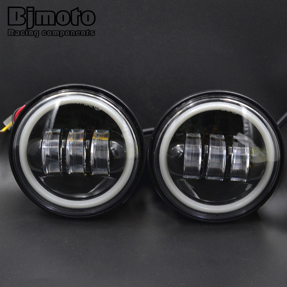 ФОТО 4.5 inch Motorcycle Led Fog Lamp 30W Chrome LED Auxiliary Fog Passing Light for Harley