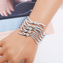 Lzhlq Модные металлические браслеты трендовые женские макси