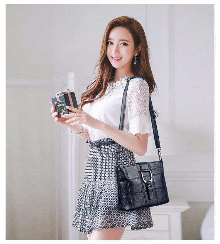 Women Quality Leather Plaid Pattern Handbag 25