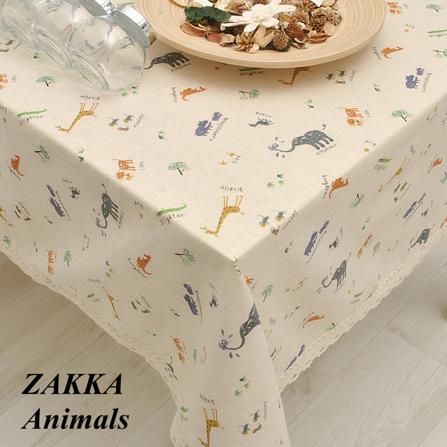 Superieur Animals Zoo Series Cute Cartoon Cotton Linen Tablecloths / Table Cloth /  Napkins / Tea Table