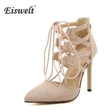 Eiswelt 2017 nouvelle de mode femmes chaussures sexy creux gladiateur croix liée chaussures femmes à talons hauts pompes dames chaussures de soirée # egmj63