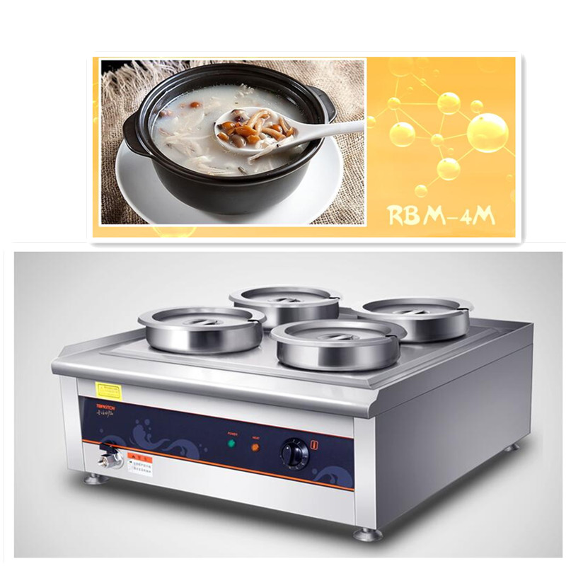 220V Commercial Stainless Steel Electric Warm Soup Stove 4 Cylinder Heat Preservation Furnace For Warming Food Heat Preservation cp 33 heat preservation stainless steel electric heating lunch box w egg tray spoon white