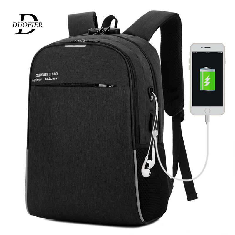 Laptop Backpack School-Bag Usb-Charging Business Travel Waterproof Male Women Girls Casual