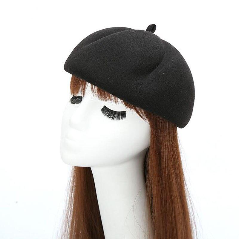 Women Wool Pillbox Fascinator Hat Feamale Stewardess Hats Etiquette Cap Plain Fedoras Cap Women Beret Hat Formal Lady Hat