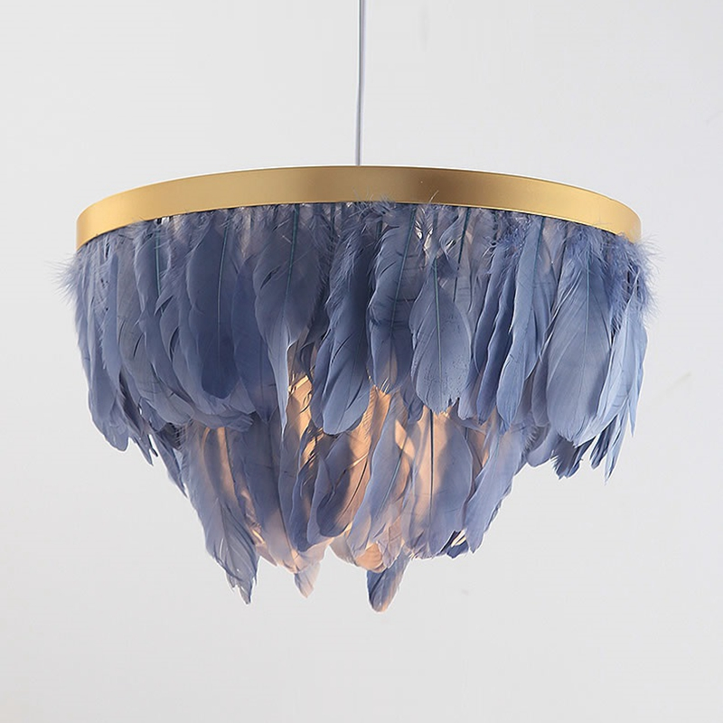 LukLoy Nordic Feather Suspension Pendant Light Romantic Fairy Feather Pendant Lamp INS Feather Loft Ceiling Hanging