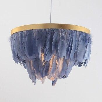 LukLoy Nordic Feder Suspension Anhänger Licht Romantische Fee Feder Anhänger Lampe INS Feder Loft Decke Hängen Beleuchtung