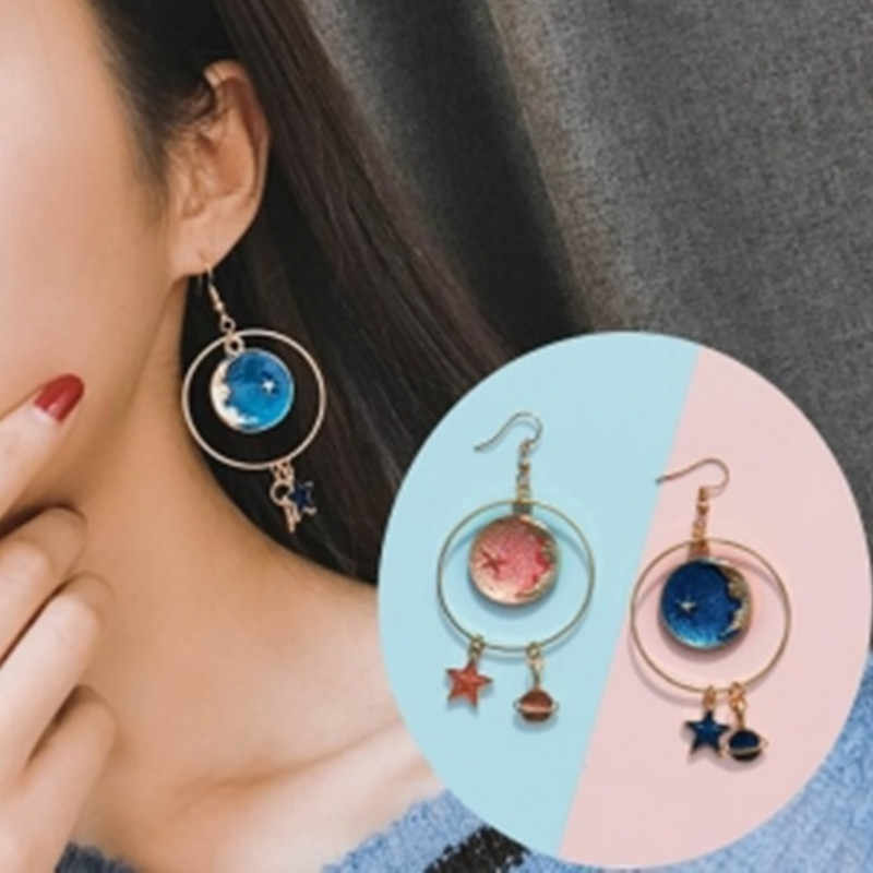New Fashion Girl Star Geometry Circle Planet Long Statement Earrings Jewelry Gifts for Women