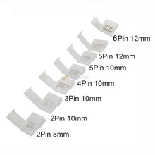 LED Strip Connectors 2pin 8mm/2pin 10mm/4pin 10mm/5pin 10mm/5pin 12mm/6pin 12mm Gratis Lassen Connector 5 stks/partij.(China)