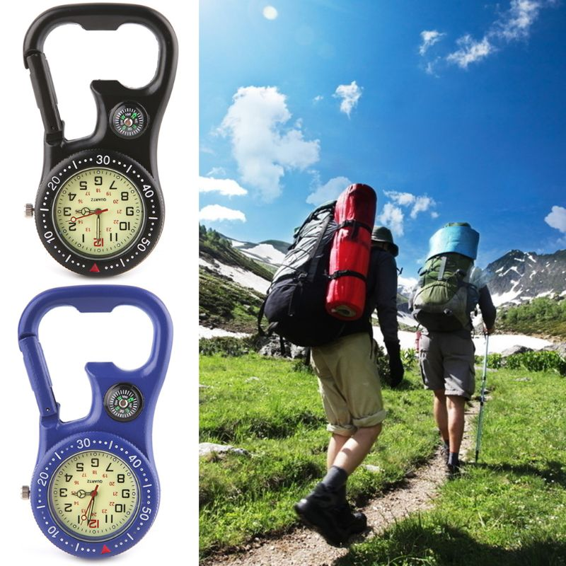 1 Pc Rock Climbing Carabiner Luminous Watch Hang Buckle Compass Bottle Opener Analog Display Quartz Movement in Compass from Sports Entertainment