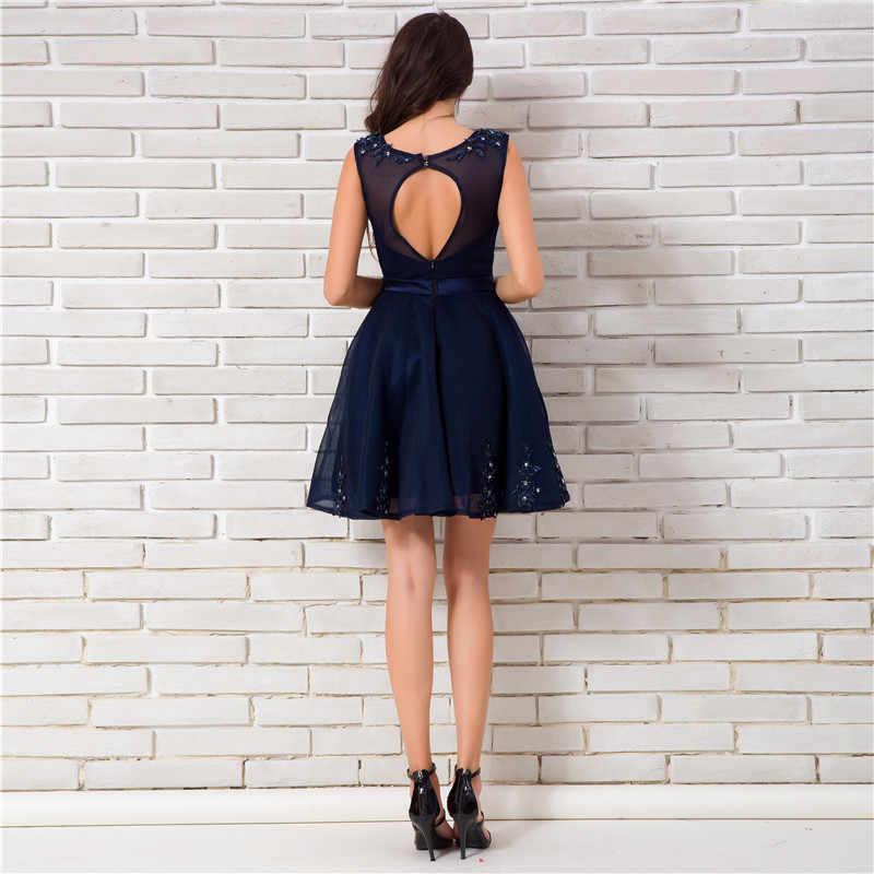 9092c49294e ... Это YiiYa 2018 Новый рукавов Простые аппликации по колено ужин Коктейльные  платья Вечерние Короткие торжественное платье