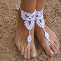 1 pcs sexy corda artesanal tornozeleira crochet sandálias descalças noivas sapatos piscina praia hippie boho de yoga desgaste da praia tornozeleira pé jóias