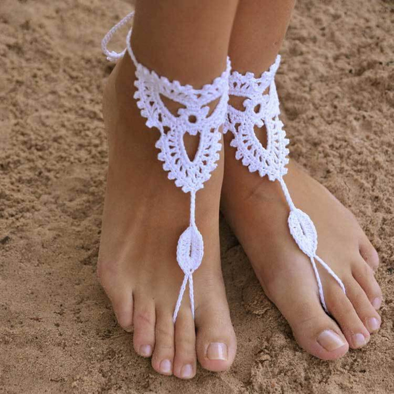 Sexy Handmade Rope Anklet Crochet Barefoot Sandals Brides Shoes Beach Pool Yoga Beach Wear Anklet Hippy Boho Foot Jewelry 1pair