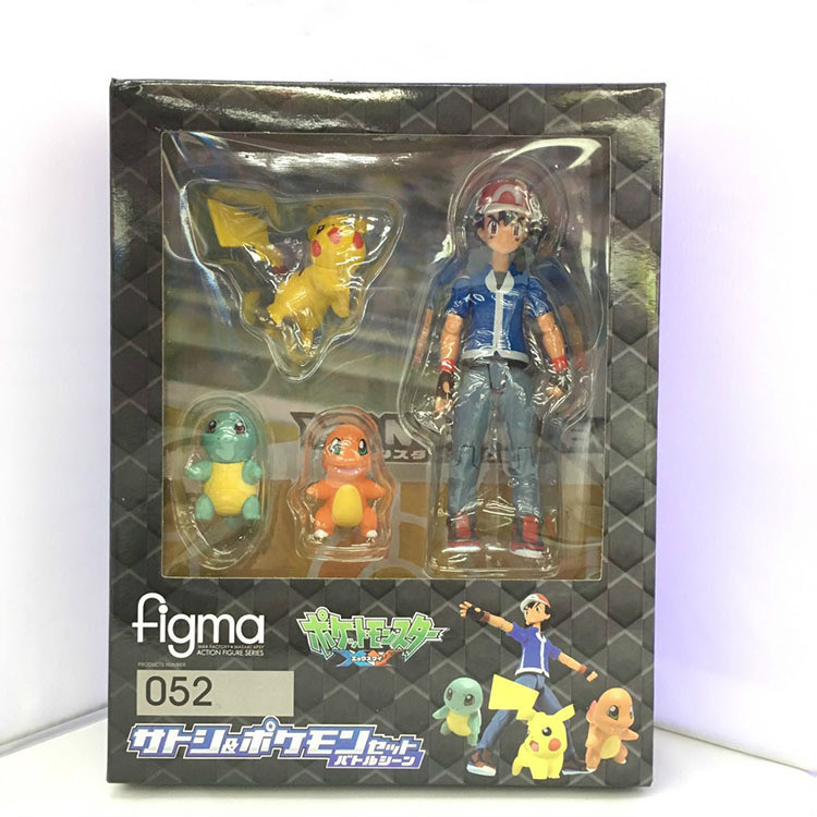 Pokemon Figma 052 Ash Ketchum Pikachu Squirtle Charmander PVC Action Figure Collectible Model Toy
