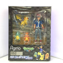 Figma 052 Ash Ketchum Pokemon Pikachu Squirtle Charmander PVC Action Figure Collectible Modelo Toy(China)