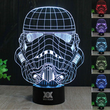 HUI YUAN Star Wars Soldier Acrylic Night Light 3D LED Touch Switch Colorful Gradient Novelty Lighting Table lamp Home Decor