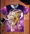 Saint Seiya Cloth Myth de Saint Ouro Gemeos Cosplay T-Shirt Tee Anime Estilo Verão de Manga Curta Camisa de T Para Homens