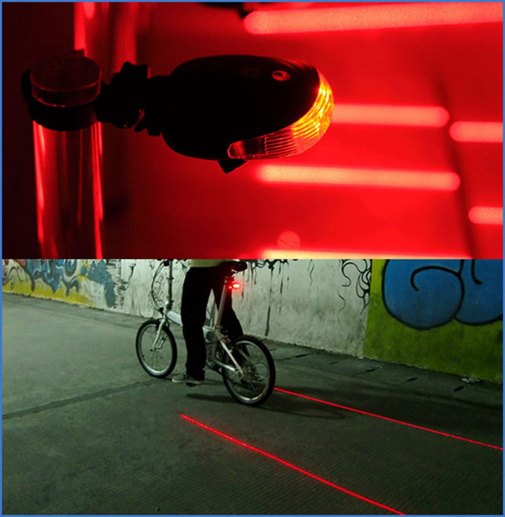 Bicycle Bike Cycling 2 Laser 5 LED Flashing Lamp Rear Tail Light Safety Warning