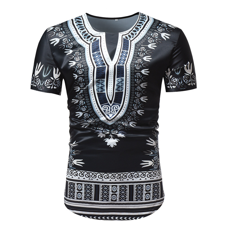 African T-shirts For Men Wax Ethnic Style Printed Short Sleeves Man Africa Dashiki Shirt Fashion Black African Male Chothes